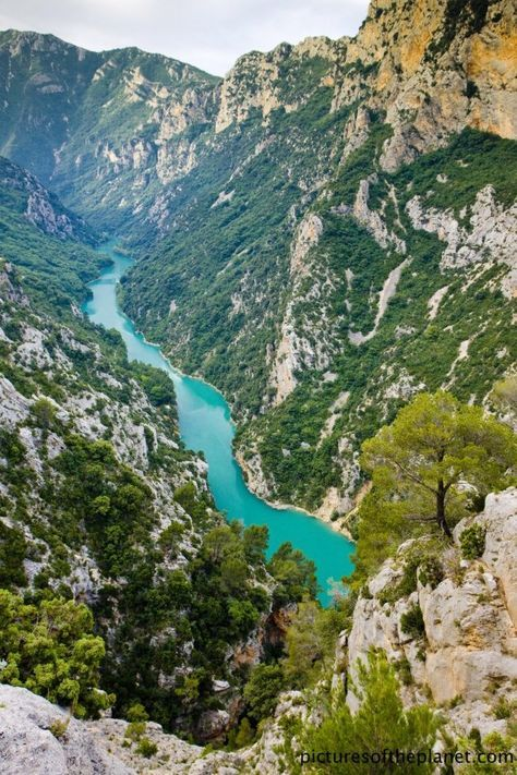 The Verdon Gorge located between Avignon Nice is the largest canyon in Europe. The beautiful scenery can be viewed via a drive on the southern rim. Also there are opportunities for hiking white-water rafting.