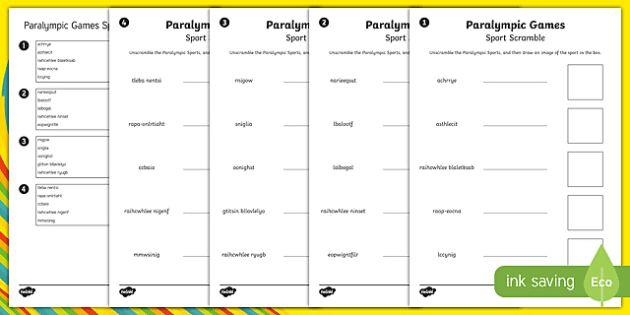 Paralympics Sports Word Unscramble - RIO Olympics, Australian sports, rio, 2016, paralympic games, paralympics, word unscramble, unscramb
