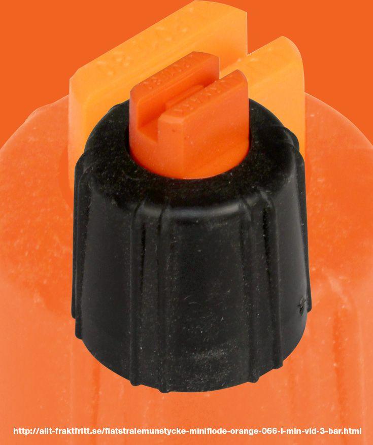 Flatstrålemunstycke miniflöde orange, 0,66 l/min vid 3 bar - 0,64 l/min vid 3 bar Vermorel ryggsprutor.   För mycket långsam sprutning, detta är minsta (långsammaste) munstycke.