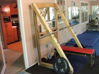 Diy squat rack google search diy gym pinterest for Homemade safety squat bar