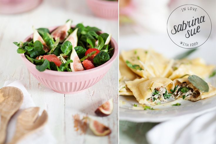 Valentinstag Menü - Feigen Spargel Salat, Rucola Ravioli & Strawberry Lava Cakes (Werbung)