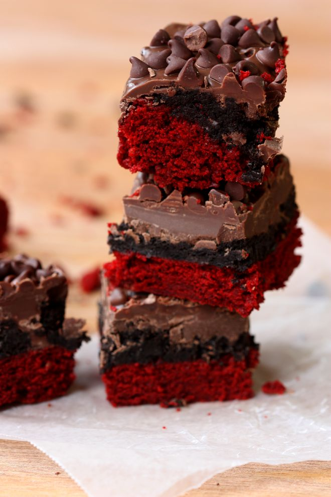 Decadent red velvet oreo truffle brownie bars!