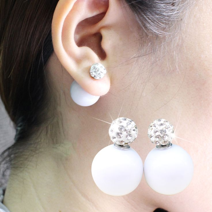 2017 New simulated pearl Earring light cute korea two ball Jewelry Double side Stud Earring candy crystal wholesale for women