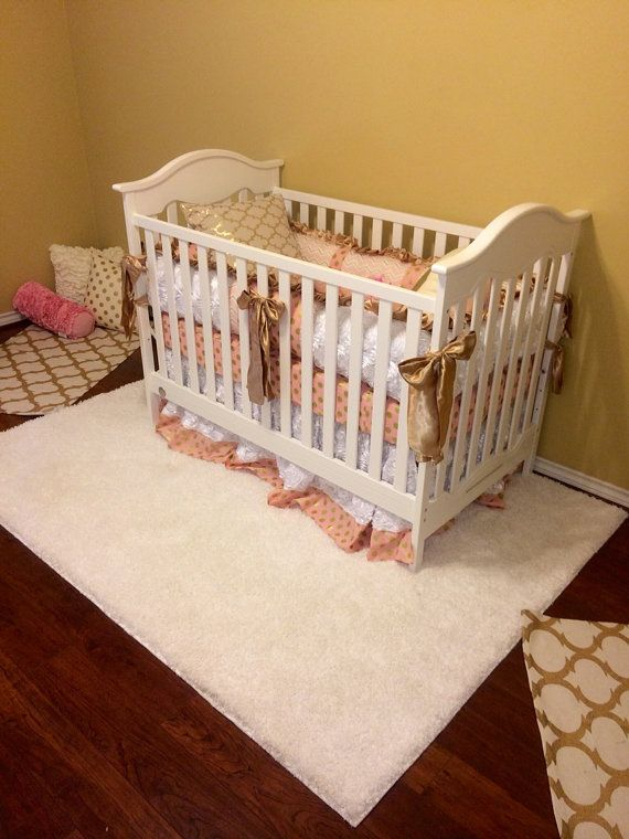 Hey, I found this really awesome Etsy listing at https://www.etsy.com/listing/250985737/bumperless-pink-and-gold-baby-bedding