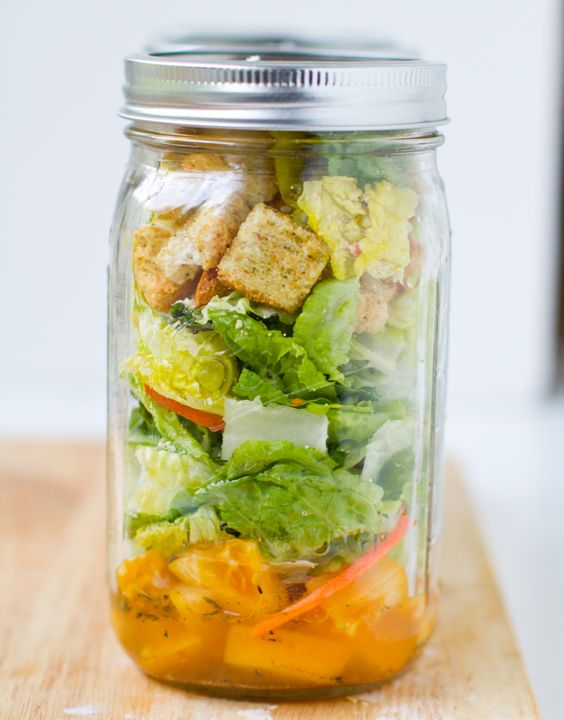 Caesar Salad. In a Jar. - Healthy. Happy. Life. #lunch: Caesar Salad, Cobb Salad, Salad Jars, Healthy Salad, Vegans Salad, In A Jars, Jars Salad, Mason Jars, Heirloom Tomatoes
