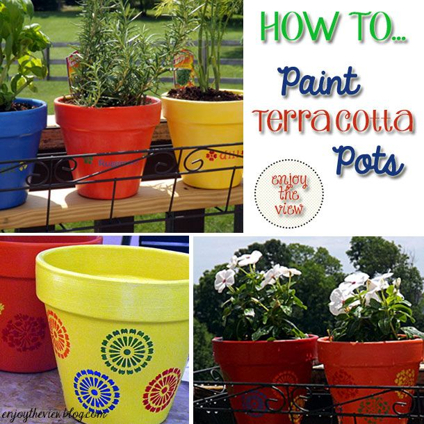 My mom and I painted terracotta pots all the time!  {enjoy the view} | how to paint terracotta pots