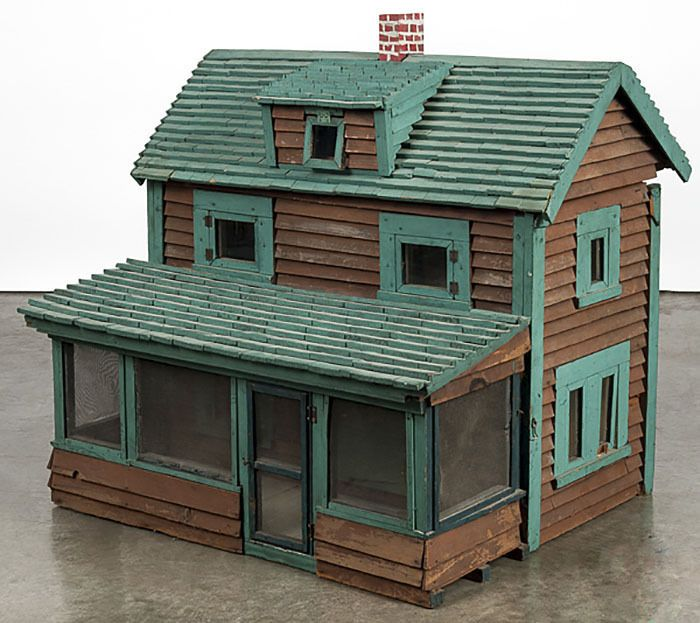 HUGE Antique Primitive c1899 Painted Wooden Doll House / Cabin Screen Porch  yqz