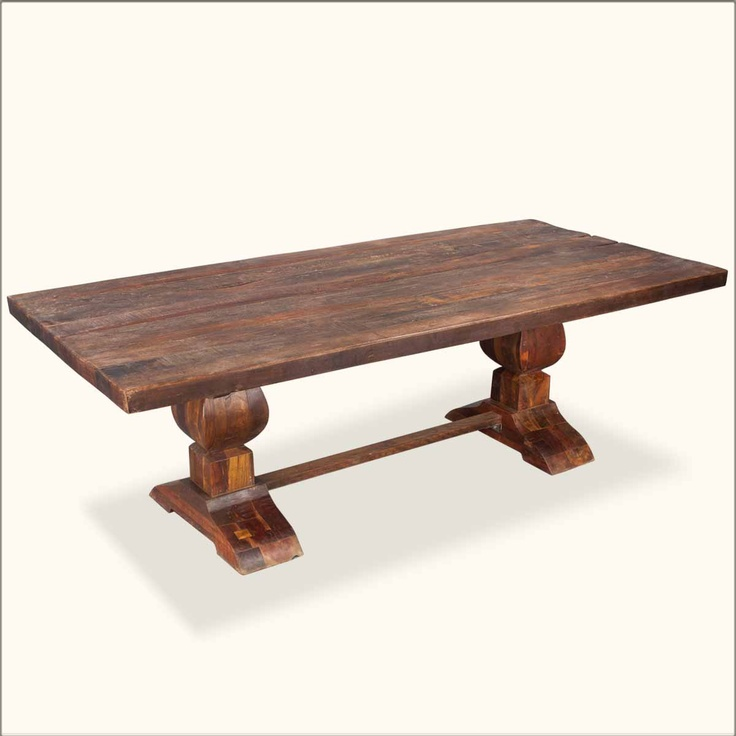 17 best images about rustic wood furniture on pinterest for Pedestal trestle dining table plans