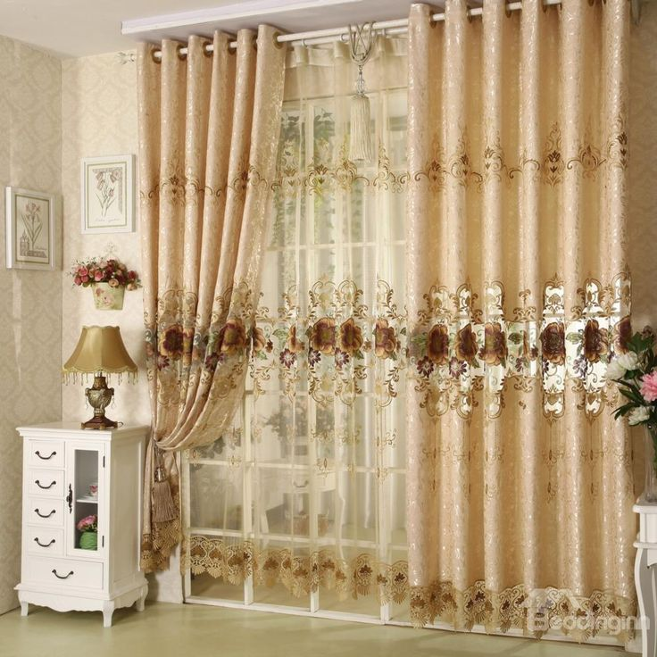 Delightful Decoration Polyester Cotton Brown Rose And Lace Border Luxury Style Grommet  Top Curtain Design Ideas