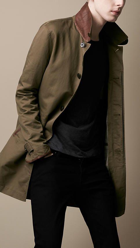 Burberry Brit Leather Detail Rain Coat