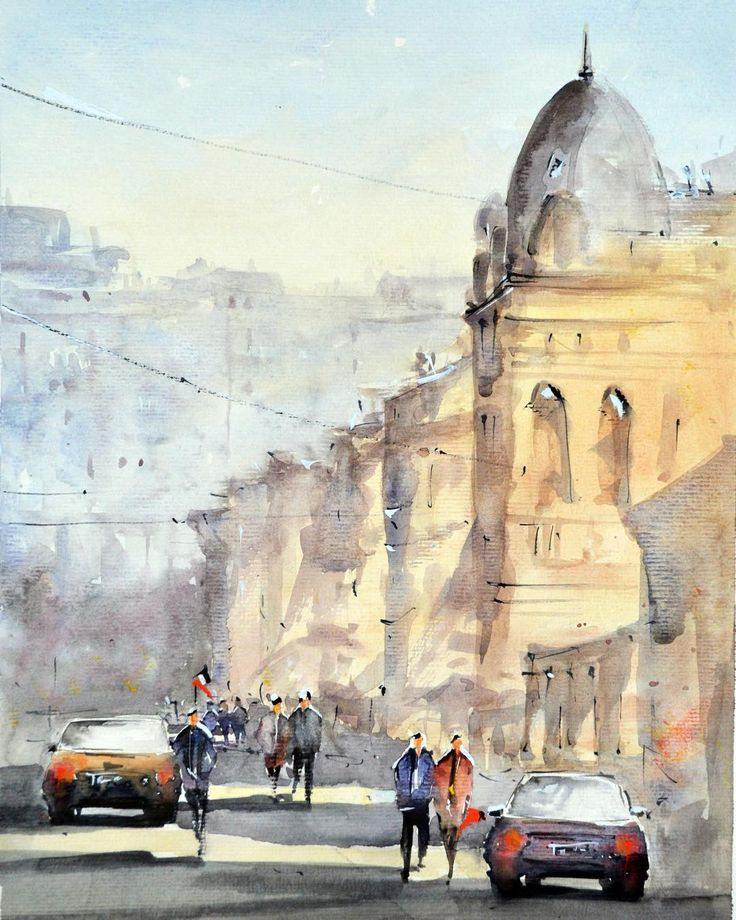 Sunny day by Maria Cornea - Streets of Bucharest - watercolor painting