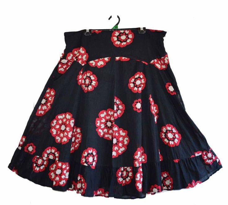 Free Postage (size 20) Katies Black Skirt - Red Flowers - Batik Floral - Zipper