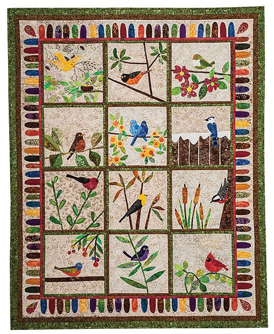 Backyard Birds: 12 Quilt Blocks to Appliqué from Piece O' Cake Designs by Becky Goldsmith & Linda Jenkins #backyardbirds