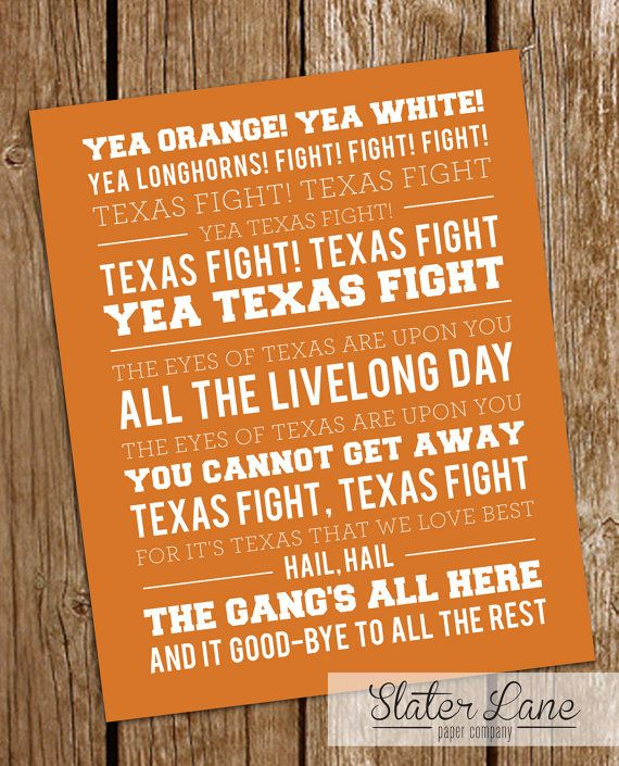 University of Texas Fight Song Wall Art by SlaterLanePaperCo