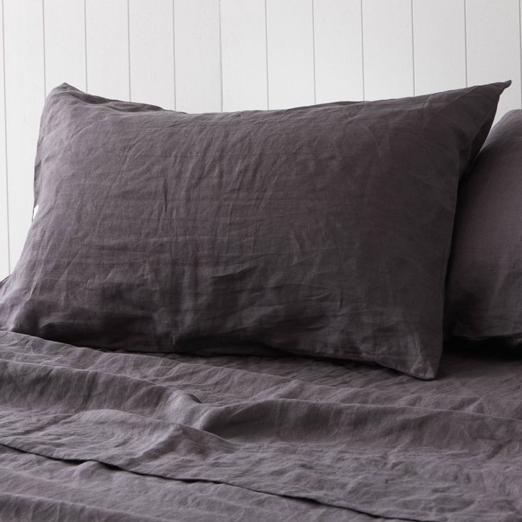 Volcanic Ash Charcoal Pure Linen Pillowcases by Montauk Style