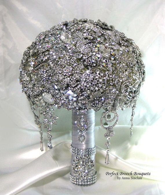 Diamond Brooch Wedding Bridal Bouquet. It shines like a Diamond. Old Hollywood Gatsby Bling