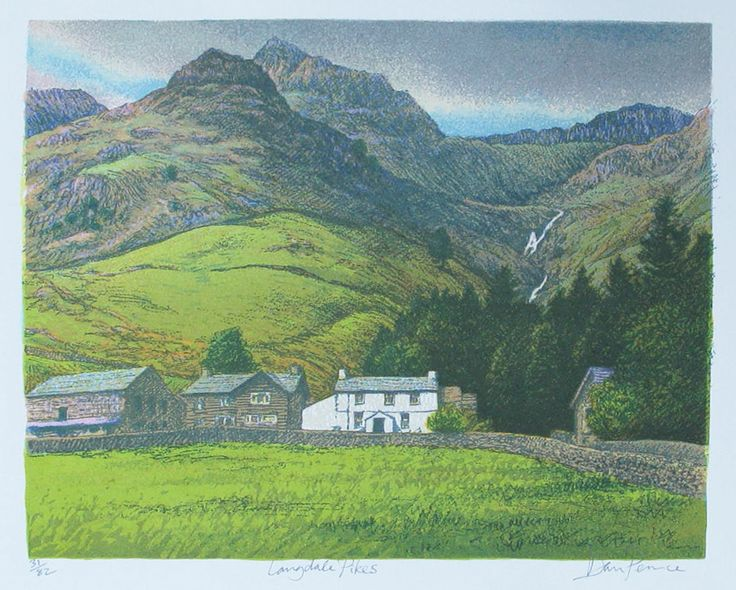 Langdale Pikes, the Lake District. Screenprint 35x28 €45   One of my favourite places...