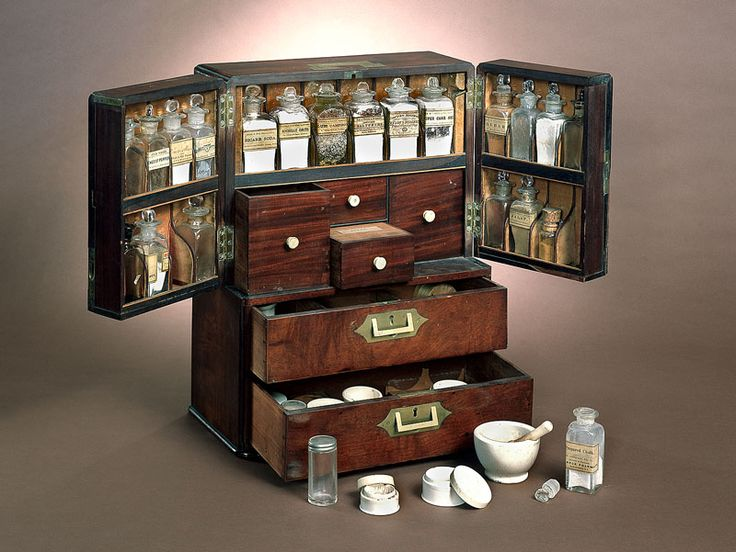 Ship's Medicine Chest, 1800s View Object Record Starting in 1790, American merchant ships larger than 150 tons and with more than 10 crew members were required to have medicine chests. The chests came with instructions, and the captain or first mate usually administered the medicines. This well-traveled example has labels from Baltimore, Maryland; Mamaroneck, New York; and Halifax, Nova Scotia