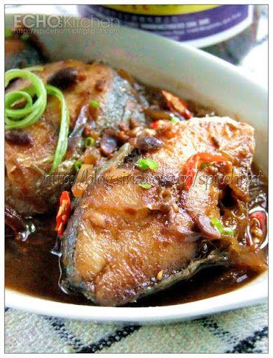 A taste of memories -- Echo's Kitchen: Ikan Masak Taucu (Spanish Mackerel in Fermented So...