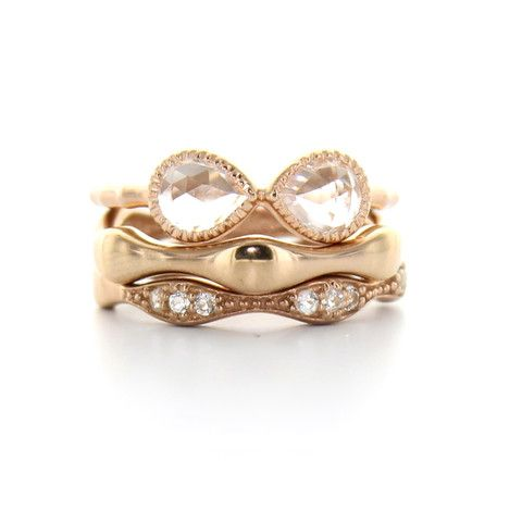 COMPASSION BAND RING - WHITE TOPAZ & ROSE GOLD | Buy So Pretty Jewelry Online & In Stores