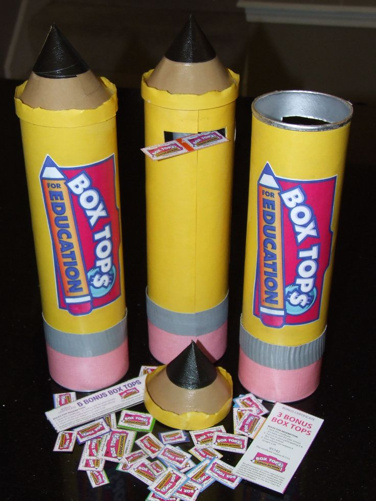 Great way to introduce parents to Box Tops at Back To School Night.  Saw this idea of making giant pencils out of pringles cans.