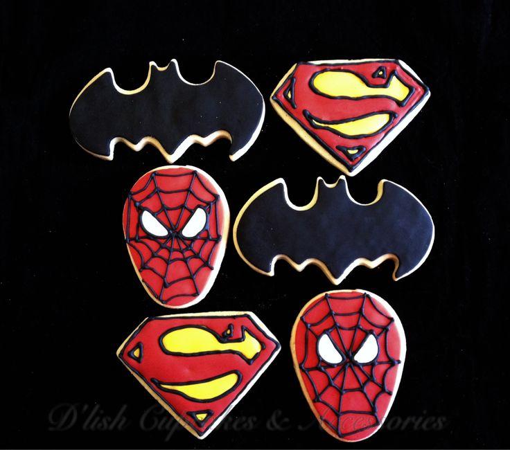 Spider-Man, super man, bat man cookies. Superhero cookies. Super hero cookie cutters available at www.dlishcookies.com