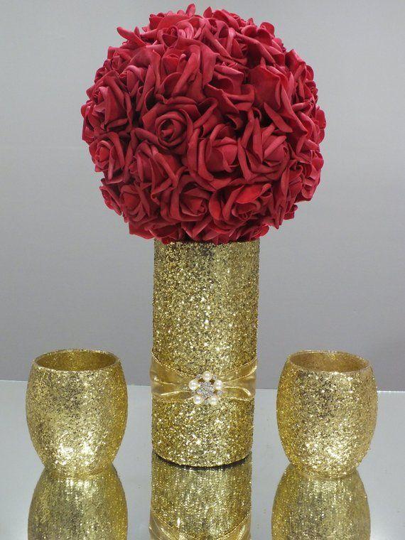 Wedding Centerpieces Flower Ball Kissing Ball Glitter Vase Glitter Centerpiece Glitter Wedding Centerpieces Wedding Floral Centerpieces Flower Centerpieces Wedding