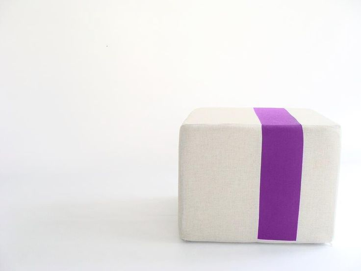 Floor Pouf/Natural Linen with Purple Stripe/ Additional Seating/Unique ...