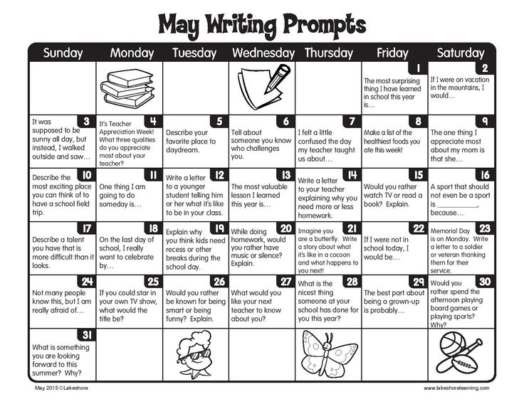 The end of the school year doesn't mean the end of writing! Here are writing prompts for every day of May!