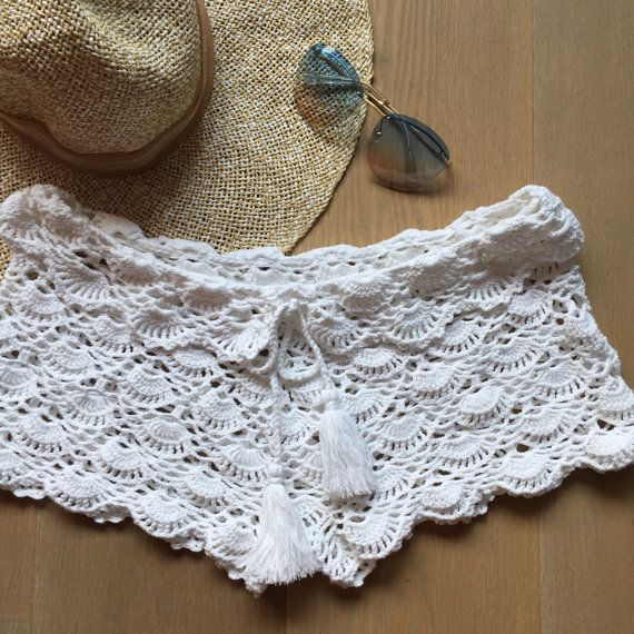 Crocheted Shorts White Fantasy handmade by KnitwearByPalmiotto