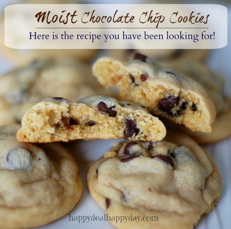 Moist Chocolate Chip Cookies | Your New Favorite Chocolate Chip Cookie Recipe!  This recipe reveals the secret ingredient to moist chocolate chip cookies!!!         happydealhappyday.com