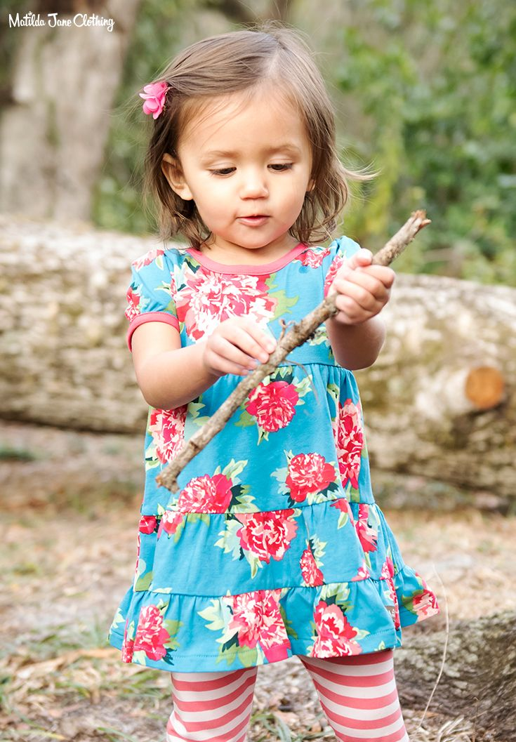 7c450223d6d0 This dress is so cute with a darling pretty peony print.  Blue  Pink  Peony   Peonies  BabyDress  BabyFashion  SpringFashion  MatildaJaneClothing
