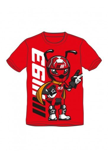 T-shirt from the Marc Marquez children's collection. Red T-shirt with a racing look, featuring a large Marquez Ant and MM93 lettering on the chest. The Spanish rider's unmistakeable race number 93 is featured on the back.
