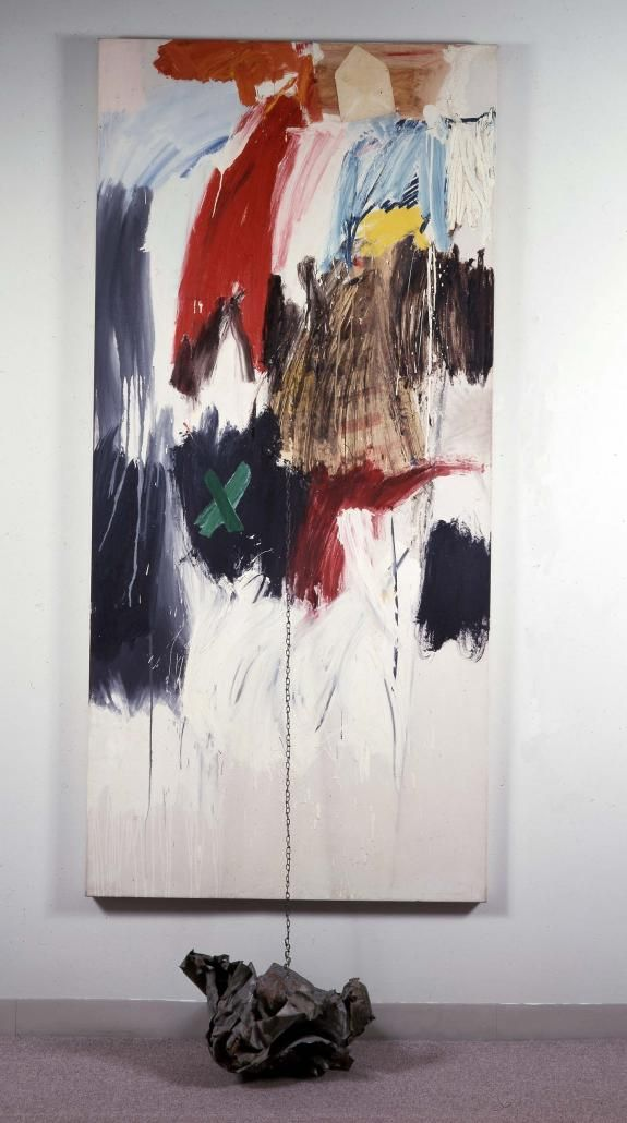 Robert Rauschenberg - 1960, Nettle. Combine: oil, printed paper, and ink on canvas with chain and metal (213.4 x 99.1 cm)