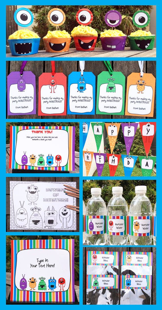 Monster Party Invitations & Decorations – full Printable Package – INSTANT DOWNLOAD with EDITABLE text – you personalize at home