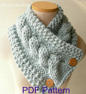 WindyCityKnits: Knit Cable Cowl Scarf Pattern Pdf