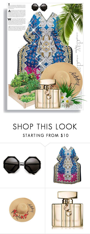 """Beach kaftan Dress"" by boho-chic-2 ❤ liked on Polyvore featuring Gucci, dress, caftan, printedkaftan, bohemiankaftan and beachkaftan"