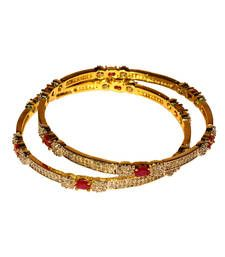 Buy Gold Plated Bezel Setting Bangles with Pinkish Red Ruby Stones bangles-and-bracelet online