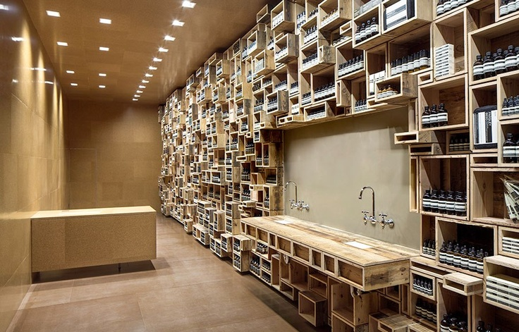 Recycled boxes vs pure cork in the new Aesop store in San Francisco by NADAAA architects.