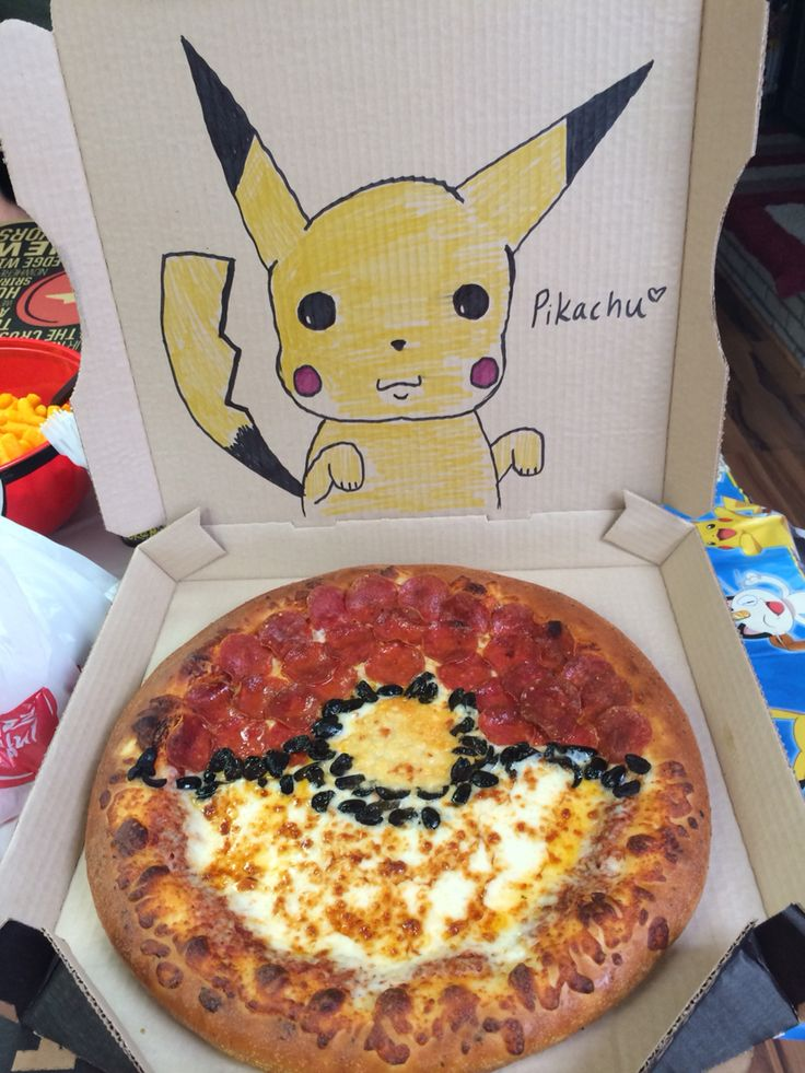 Awesome Pokemon pizza done by Pizza Hut for my nephews birthday party! They drew pikachu without us asking and it was great! I choose you Pizza Hut!