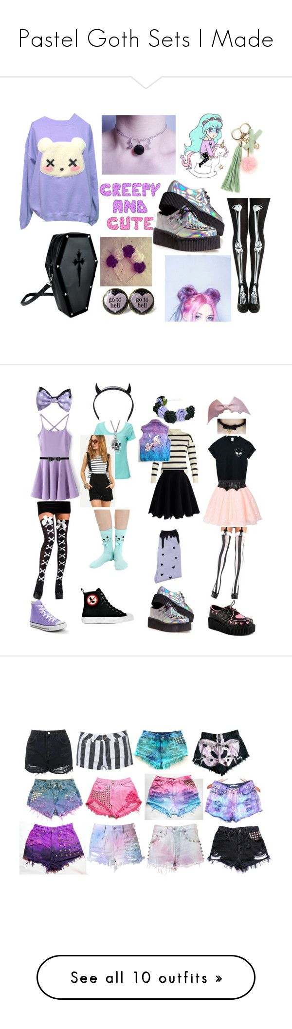 """Pastel Goth Sets I Made"" by becauseamazingness ❤ liked on Polyvore featuring T.U.K., cutekawaii, Converse, Simplex Apparel, Black Pearl, Club Exx, Moschino, Alice + Olivia, Migh T By Kumiko Watari and Tabula Rasa"