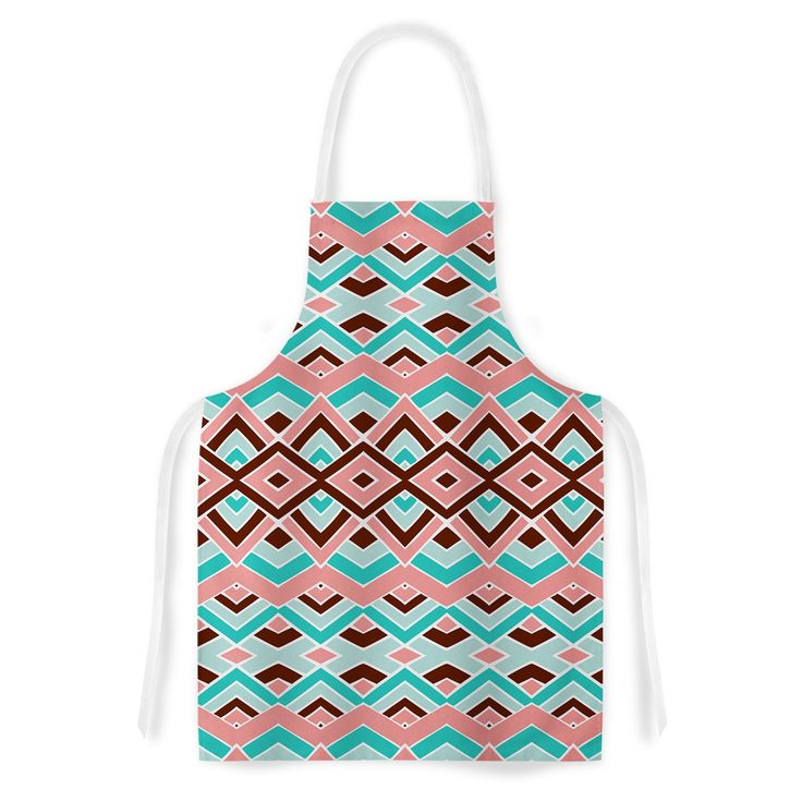 Kess InHouse Pom Graphic Design 'Eclectic' Peach Teal Artistic Apron