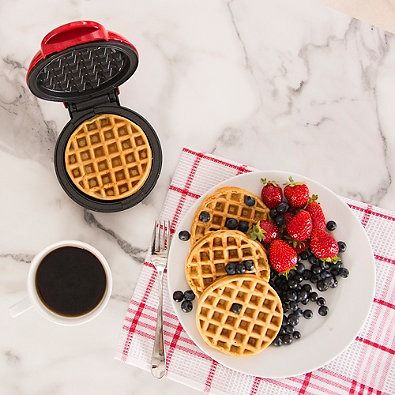 Dash Mini Maker 3-Piece Griddle, Waffle, and Grill Set in Red/Black/White