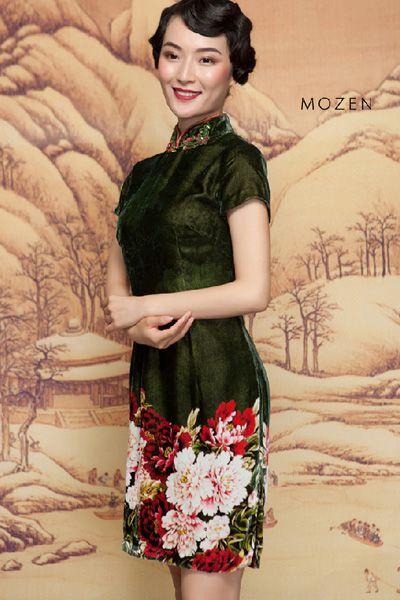 Silk, Floral,  Qipao, Cheongsam, Velvet, Xmas outfit, New Year outfit! http://www.lastyleloft.com/online/shop-by-designer/mozen/