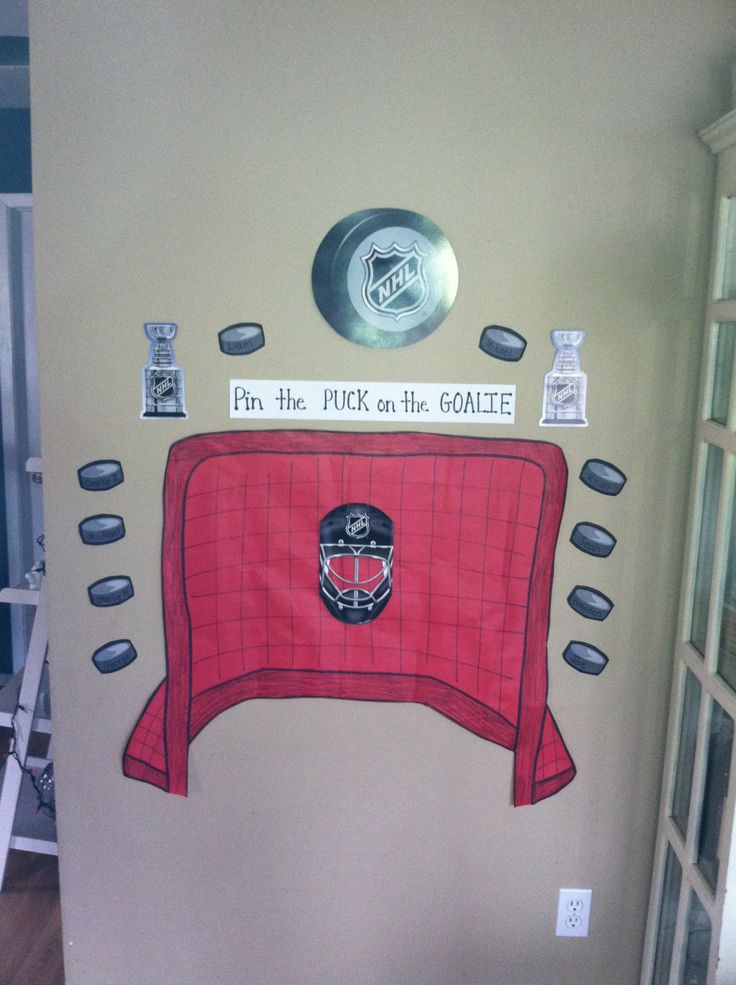 Hockey party- kids played pin the puck on the goalie