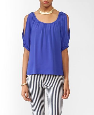 Right color Blue, maybe add in a red insert?: Short Raglan, Blouse Featuring, Color Blue, Colors, Elasticized Short, Rock, Skinny Girl, Cutout Shoulders