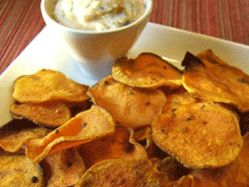 Sweet potato chips and dip