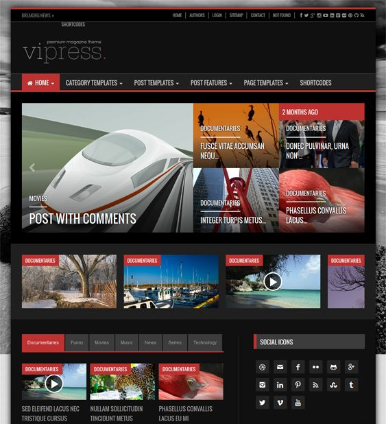 This video WordPress theme offers a responsive layout, light and dark styles, over 600 Google Fonts, 50 shortcodes, a modular homepage, a news ticker, 12 widgets, 4 homepage sliders, unlimited colors, and more.