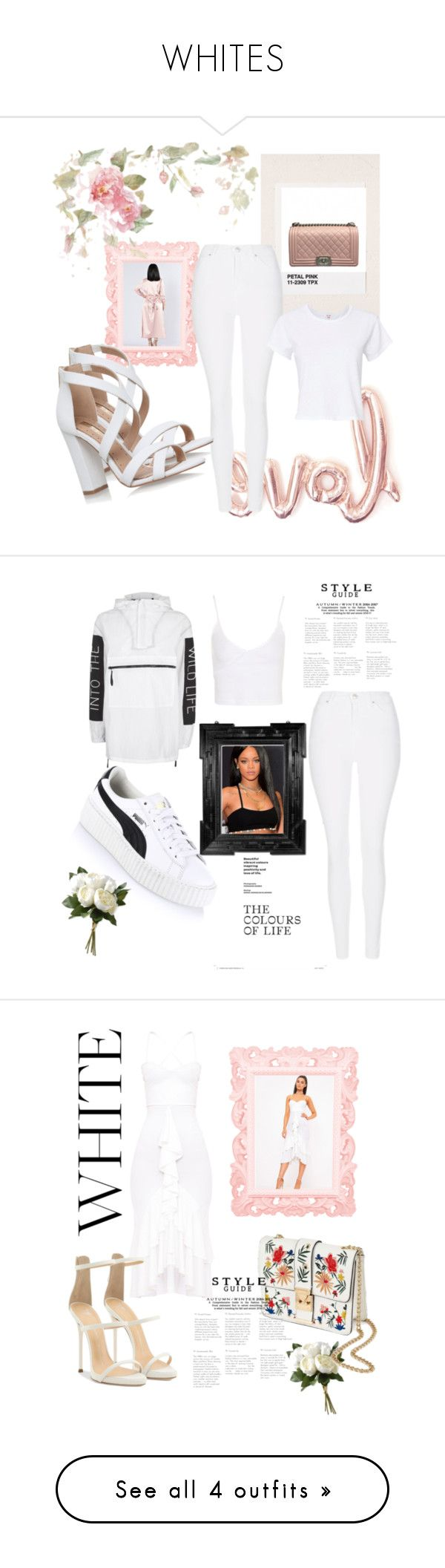 """WHITES"" by visualist-101 ❤ liked on Polyvore featuring Honeymoon Hotel, Chanel, Topshop, Miss KG, RE/DONE, Puma, Linda Horn, National Tree Company, Giuseppe Zanotti and Miss Selfridge"