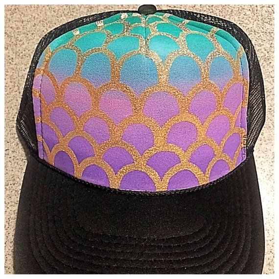 f3e8d41dff1 Silver scales fade to gold Purple fade to green background Adult size Black  hat Hand painted